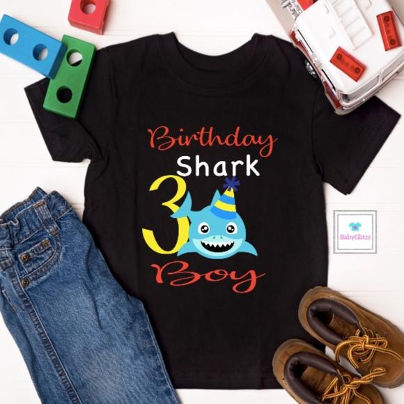 Toddlers Boys Birthday Shark Shirt